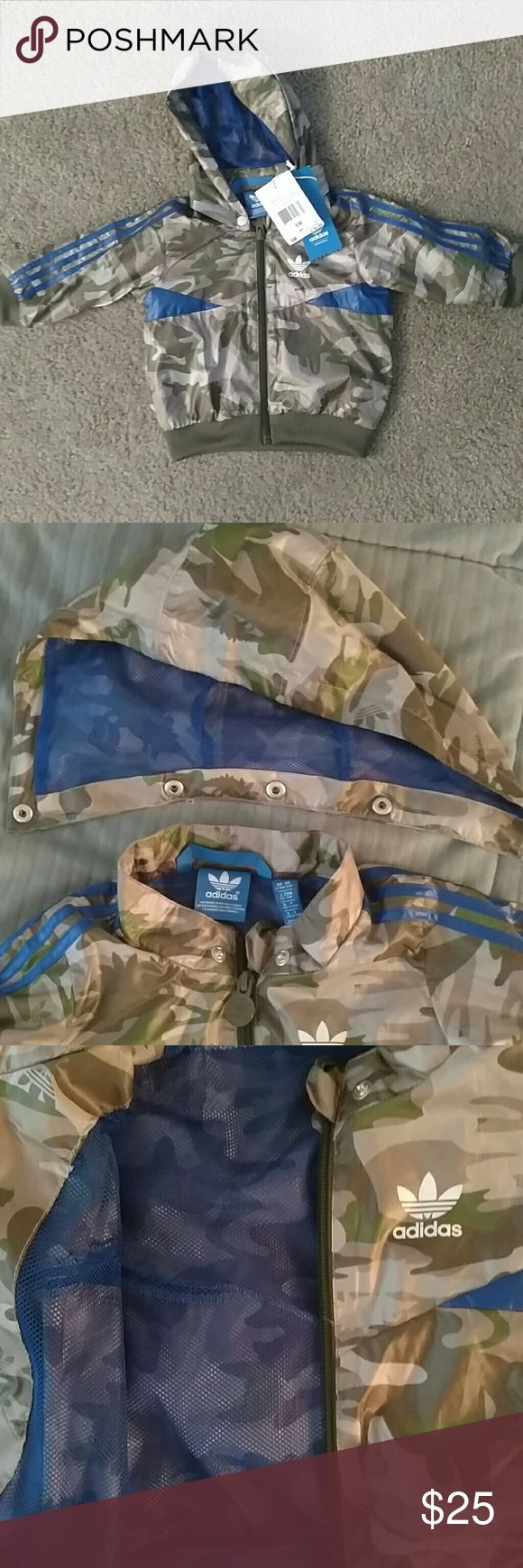 NWT Adidas Kids I Camott Hoodie Jacket. Sz 6months Adorable Adidas infant jacket size 6 months  Camouflage print with detachable hood  Full zip100% Polyester Feel free to ask me any questions adidas Jackets & Coats