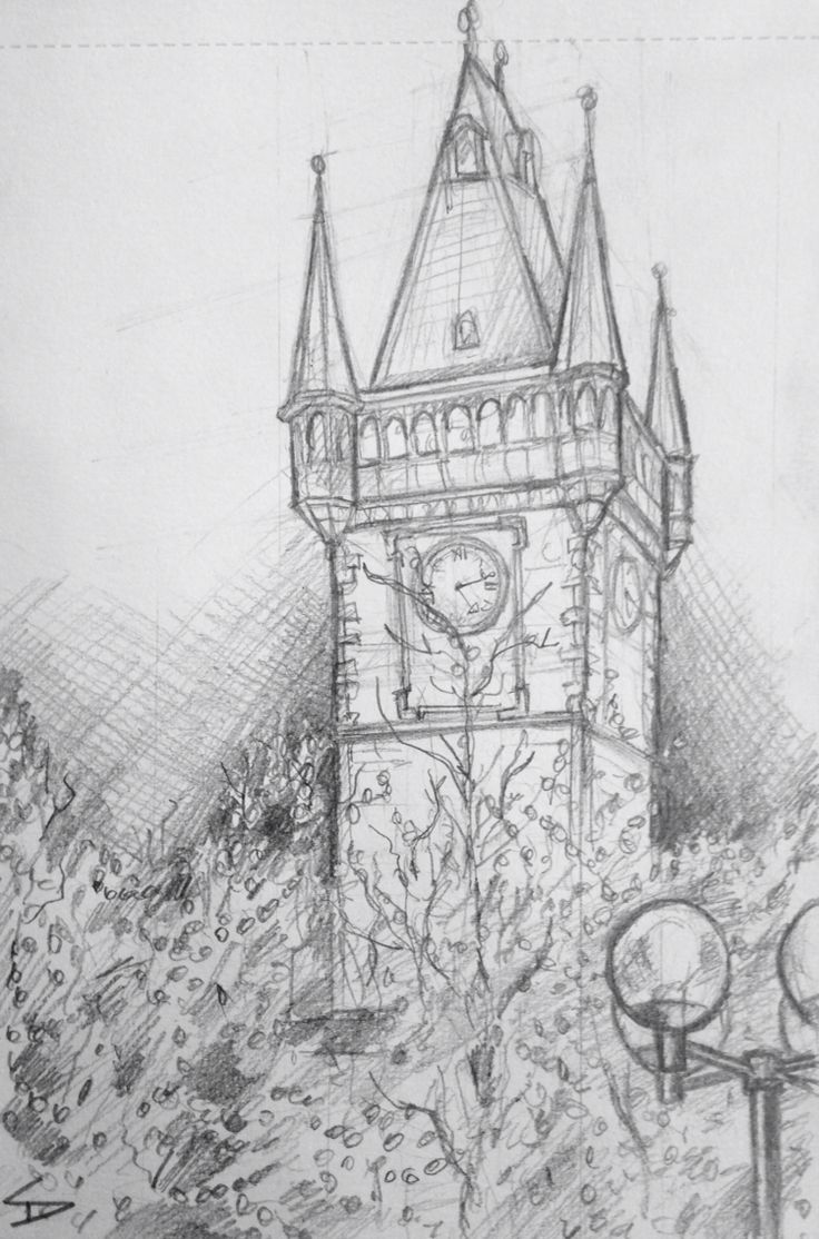 Quick Sketch. 'Old town hall tower, Prague.' Evening view