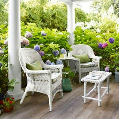 Ideas For Porch And Patio Decorating   Wicker Chairs On Beach House Porch   Country  Living