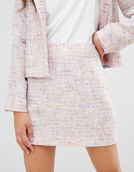 a49cb09ca9 UNIQUE21 super mini skirt in tweed two-piece in 2019 | Woman Outfit ...