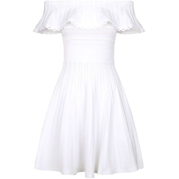 Ted Baker Dilpree Embroidered Skater Dress (£165) ❤ liked on Polyvore featuring dresses, white off the shoulder dress, white flared skirt, white skater dress, white circle skirt and skater skirt dress
