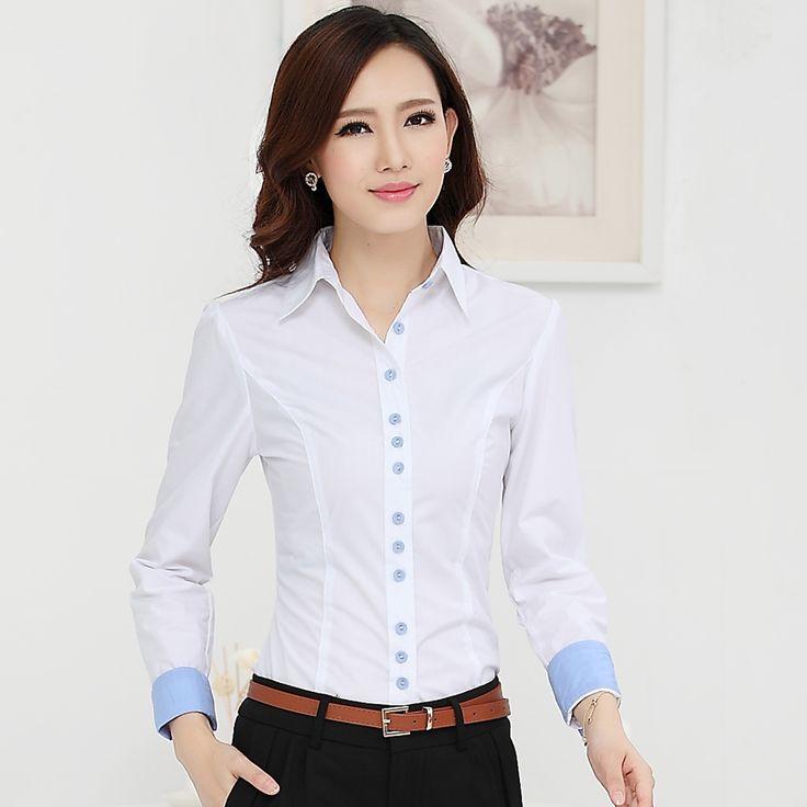 Nueva 2015 otoño invierno mujeres de algodón de manga larga ropa del desgaste OL trabajo más el tamaño blusa para mujer camisas en Blusas y Camisas de Moda y Complementos Mujer en AliExpress.com | Alibaba Group
