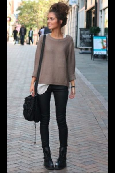 fall...with combat boots.The big messy bun is the best part.
