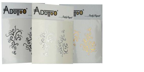 Addttoo Instant Waterproof Body Art Swirly Luxury Temporary Tattoo Black Silver Gold Swirls