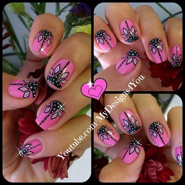 Pink+and+black+nail+art++