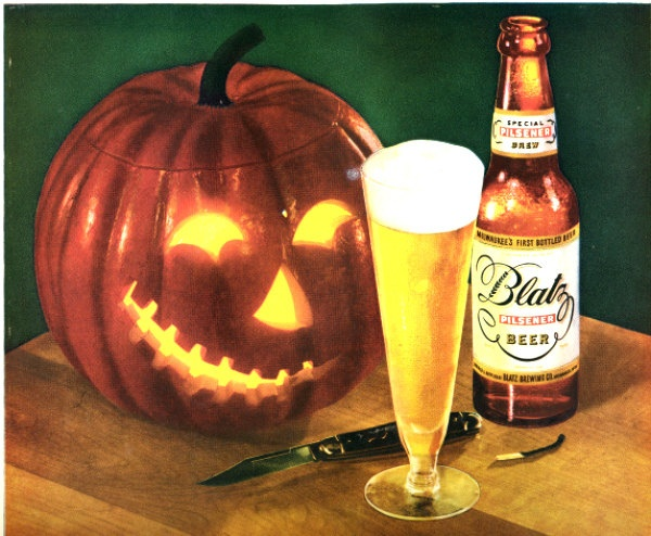 Blatz vintage beer ad.  Halloween theme. 1949