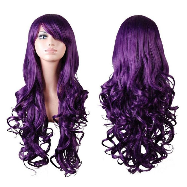 "Rbenxia Curly Cosplay Wig Long Hair Heat Resistant Spiral Costume Wigs Purple 32"" 80cm"