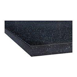 SÄLJAN Plan de travail, noir motif minéral - noir motif minéral - 186x3.8 cm - IKEA