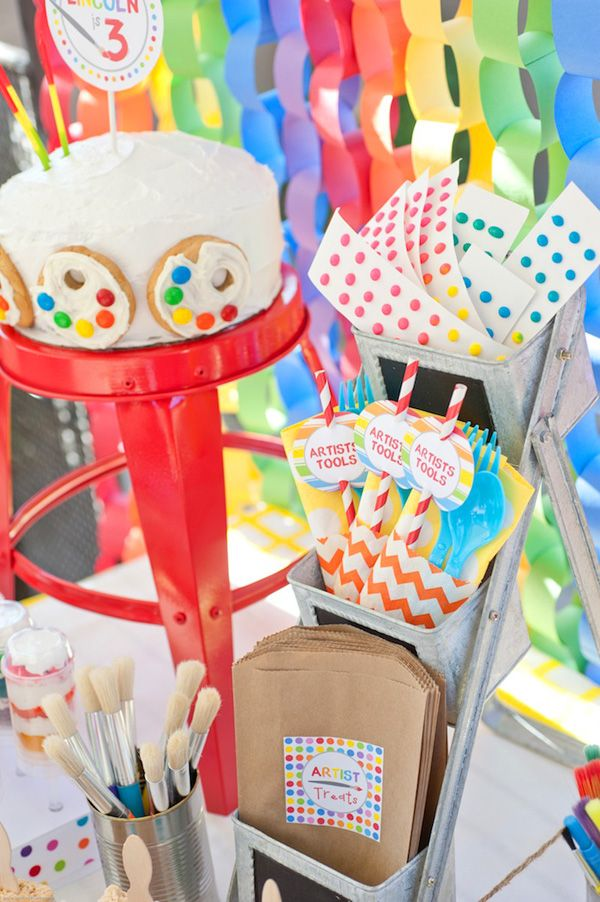 """""""Artist Tools"""" utensil packets in orange chevron bags. Spectacular Rainbow Paint Party {Kids Birthday}"""