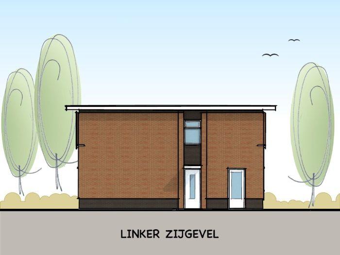 Woning met plat dak in jaren '30 stijl - linker zijgevel