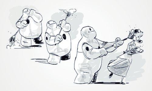 Immagine degli schizzi ideati per creare il personaggio di Baymax