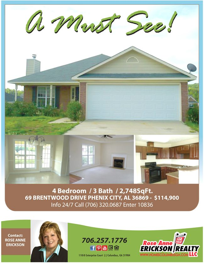 Just Listed in Phenix City Alabama!  Move in Ready, Convenient to Major Roadways and Ft Benning Ga.  Call 706-257-1776