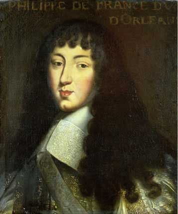 """Philippe !, Duc d'Orleans. During the reign of his brother Louis XIV, he was known simply as Monsieur, the traditional style at the court of France for the younger brother of the king. Married to Princess Henrietta of Great Britain, and after her death to """"Liselotte"""", Princess Palatine Elisabeth Charlotte.  Liselotte was close to her aunt Sophia of Hanover, mother of the future George I of Great Britain."""