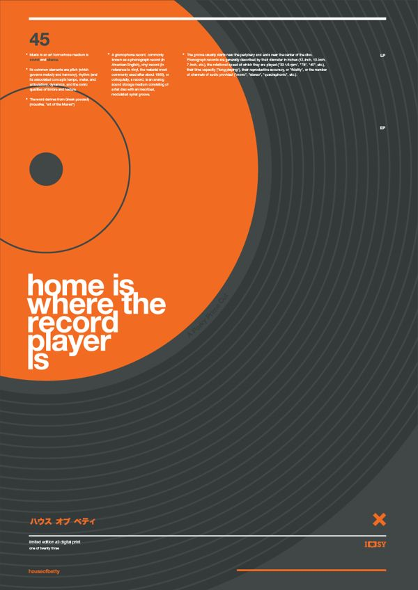 home is where the record player is by betty fishcake, via Behance