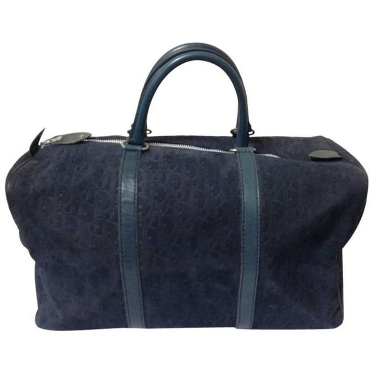 Vintage Christian Dior Bagages navy genuine suede leather travel duffle bag 1980