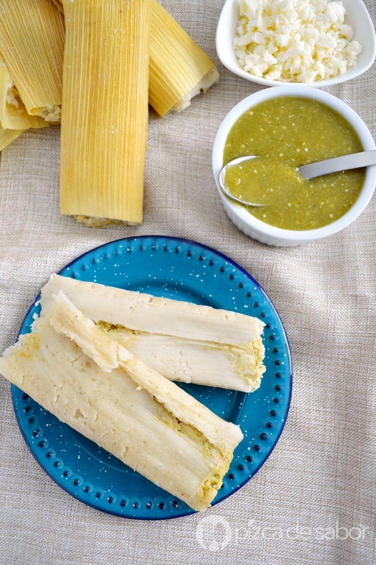 Tamales verdes de pollo o puerco www.pizcadesabor.com