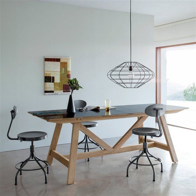 Table extensible Buondi, design E.Gallina , dessus métal AM.PM (Métal noir/chêne)