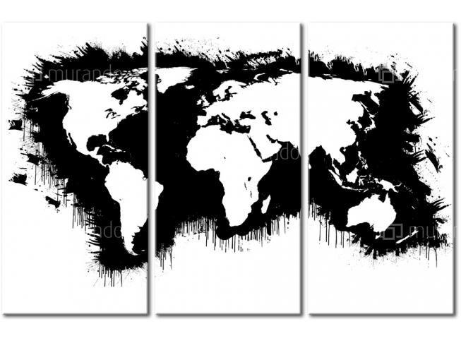 Quadro moderno Mappa del mondo monocromatica: trittico 22123