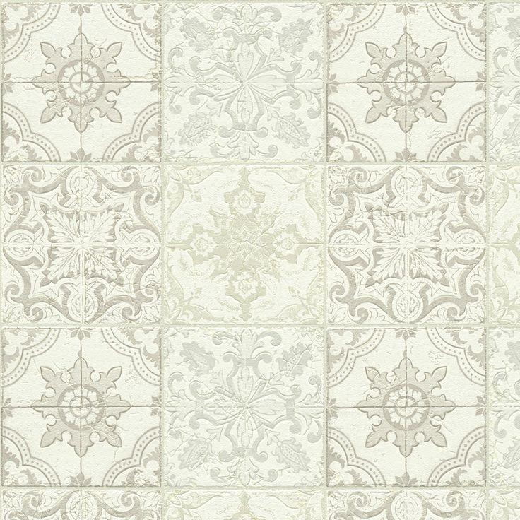 A s creation chatsworth beige cream white mosaic tile for White tile wallpaper