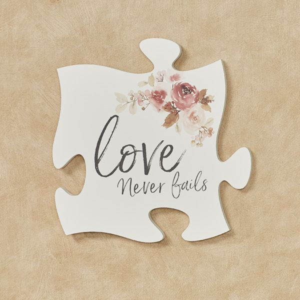 Celebrate Your Relationship Or A Family Bond With The Love Never Fails Puzzle Piece Wall Art The Painted Woode Puzzle Piece Crafts Puzzle Crafts Puzzle Pieces