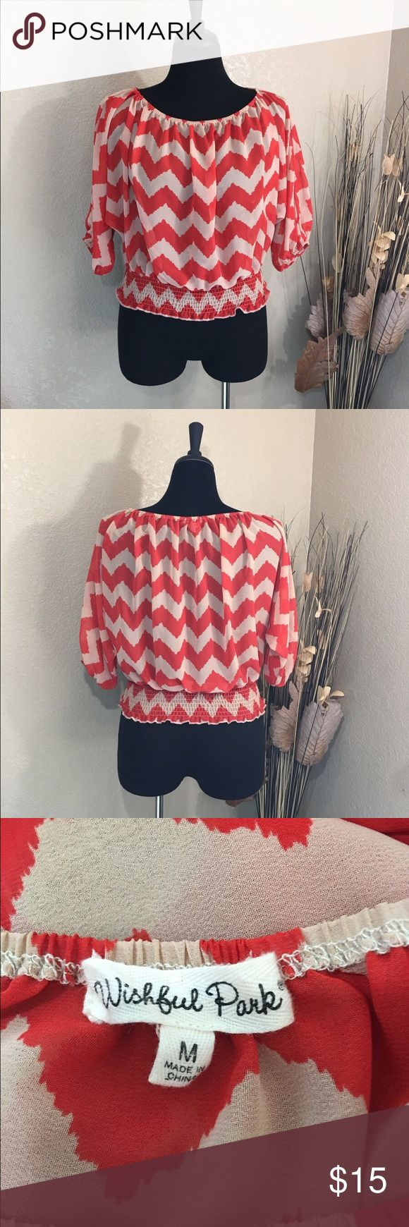Wishful Park Red and Tan Chevron Top Sheer chevron top in red and tan. Gently pre-loved condition. Wishful Park Tops