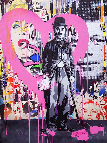 Charlie Chaplin by Mr Brainwash Mr Brainwash - real name Thierry Guetta - produces vibrant, spray-painted stencils containing popular figures and themes