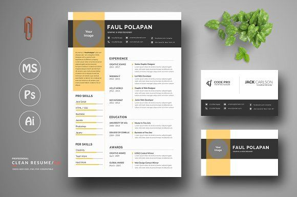 Clean Resume/Cv by Creative Source on @creativemarket