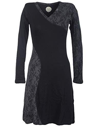 Vishes - Alternative Bekleidung - Asymmetrisches Damen Lagenlook Kleid  Baumwolle mit Spitze Bedruckt schwarz 36- 4404c2f954