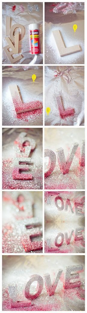 DIY LOVE Letters. Decorative LOVE letters with pink and silver glitters! So stunning and gorgeous for a wedding decor.