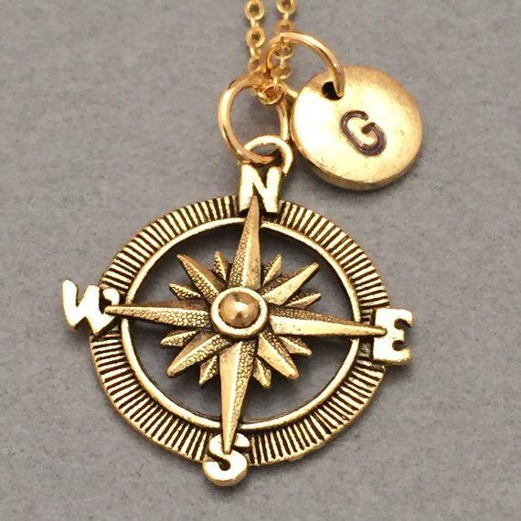 Kompass Halskette Kompass Charm nautische von Toodaughters auf Etsy