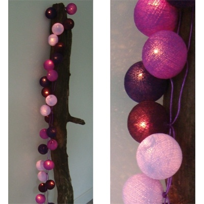 Lichtslinger Paars 35 bollen - Cotton Ball Lights