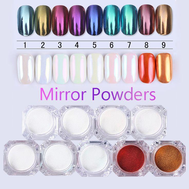 Born pretty 1 kotak cermin nail glitter powder 1g emas biru Ungu Debu Manicure Nail Art Glitter Chrome Pigmen Bubuk dekorasi
