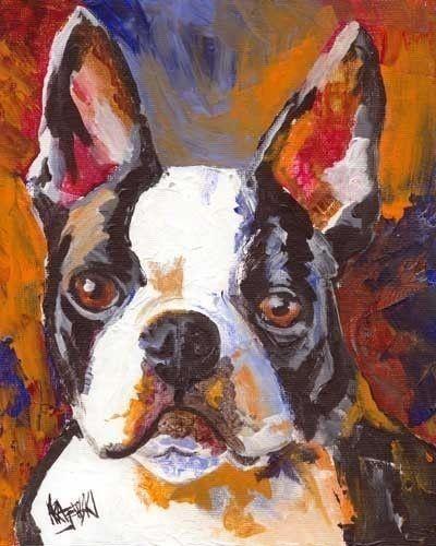 Boston Terrier Art Print of Original Acrylic by dogartstudio