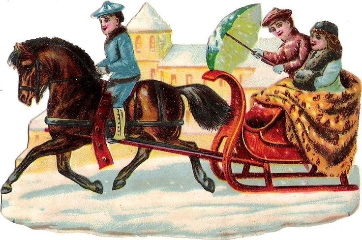 Oblaten Glanzbild scrap die cut chromo Kind child enfant Winter Schlitten coach