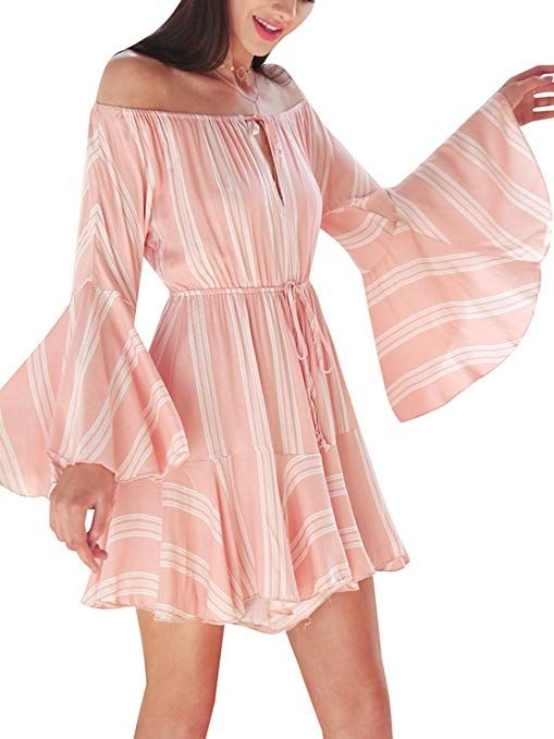 652840583d6 BerryGo Women s Sexy Off Shoulder Floral Romper Flare Sleeve Ruffle Short  Jumpsuit   summer playsuits for women   summer fashion for women   Chic  Fashion ...