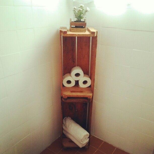 Banheiro arrumado com dois caixotes de laranja!!gostaram!? #meubanheiro