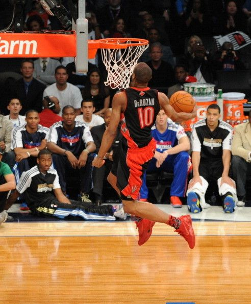 DeMar DeRozan of the Toronto Raptors dunks during the Sprite Slam Dunk Contest during 2011 All-Star weekend.