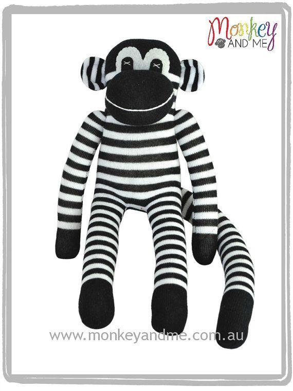 Black and White Sock Monkey Sock Monkey Stripe by SockMonkeyandMe, $30.95