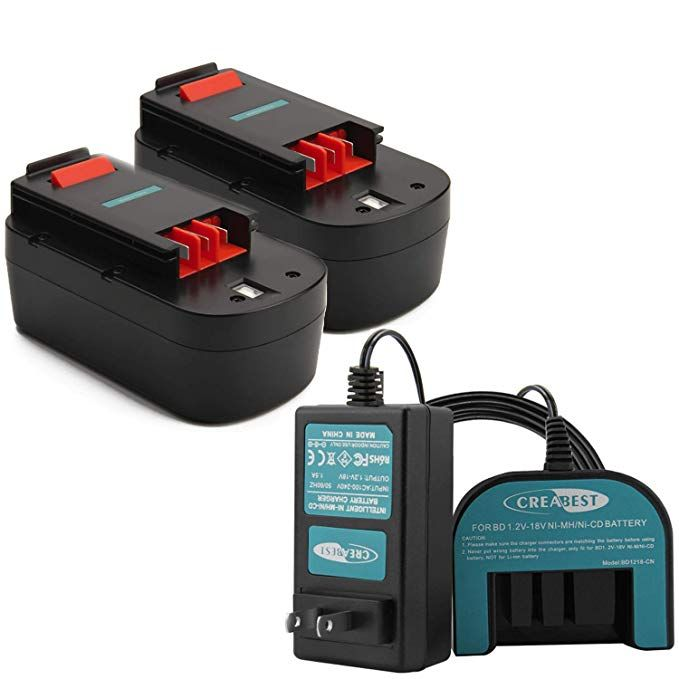 Creabest New 2packs 3 5ah Ni Mh 18v Repalcement Battery Compatible With Black Black Decker Compatibility Charger