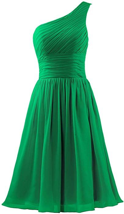 3c03ffc53f7d5 ANTS Women's Chiffon One Shoulder Bridesmaid Dresses Short Evening Dress at  Amazon Women's Clothing store: $29.99