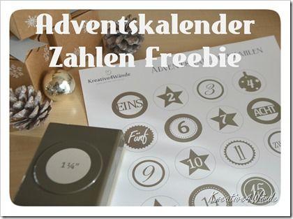 """Freebie Adventskalenderzahlen  Stampin`Up Taupe passend für die 1 1/4"""" Stanze"""