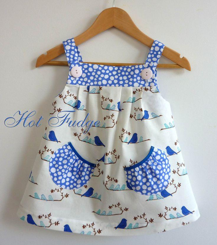 Jumper Dress, Blue Birds - cute little contrasting pockets!