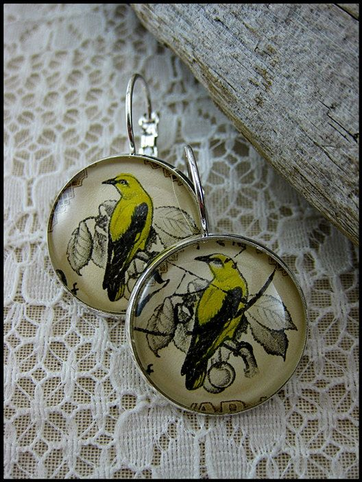 Postage Stamp Earrings / Golden Oriole / Hungary c. by OhThePost