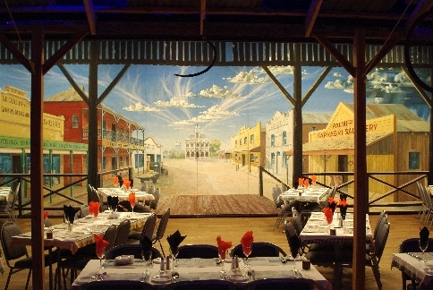 Club Mural in Narabri  showing the old main street, by Graham Lees