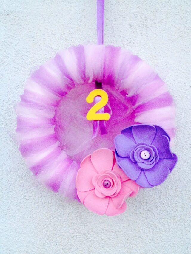 Pink and Purple  Birthday Wreath! Two years!