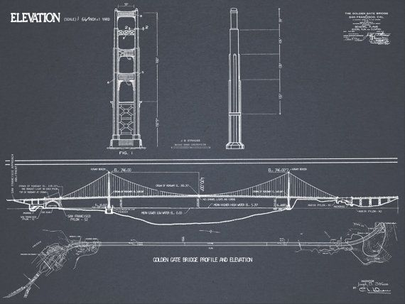 69 best vintage blueprints images on pinterest posters art prints golden gate bridge blueprint vintage san francisco golden gate bridge blueprint drawing art print poster malvernweather
