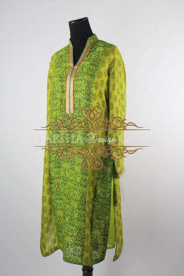 Parrot green khadi net kurta