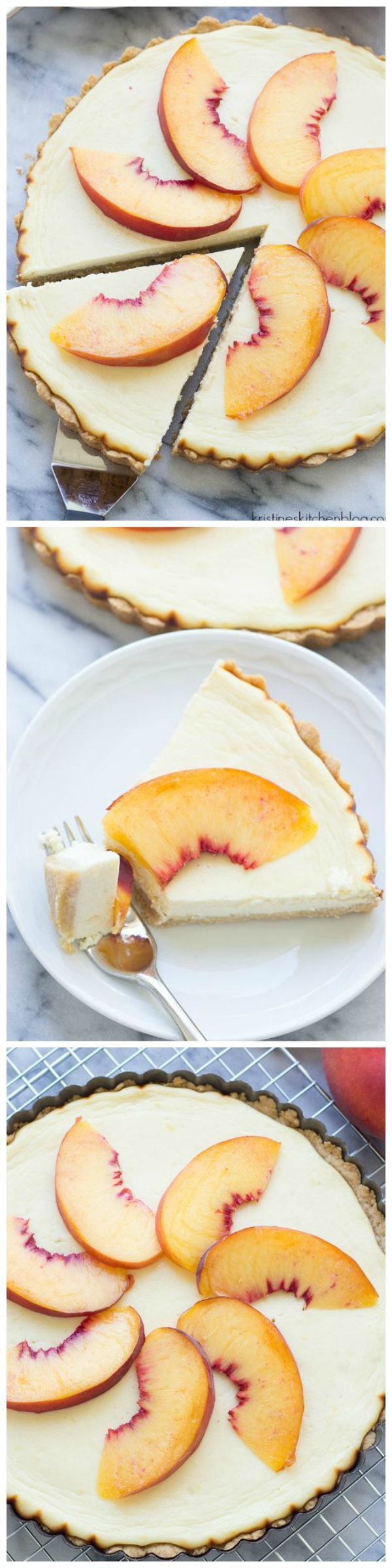 This Greek Yogurt Cheesecake Tart with Peaches has a press-in-the-pan shortbread crust. A lightened up way to enjoy cheesecake!