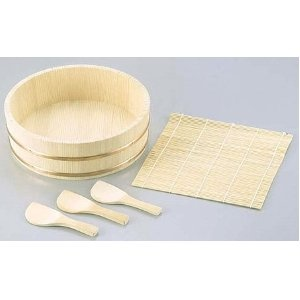 Sushi Oke Wooden Hangiri Bamboo Mat Rice Paddle Set #CD-480  Me wanty