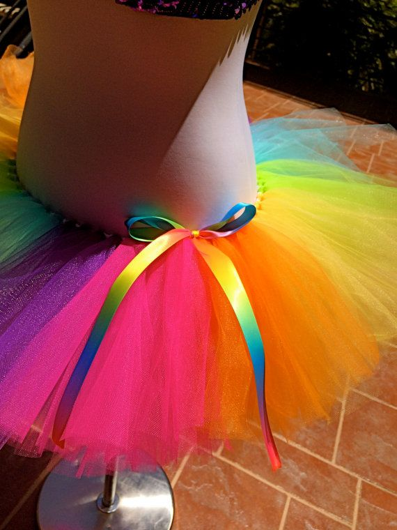 Rainbow Tutu Colorful Tutu Color Run Tutu by ShellyRioBoutique, $32.99